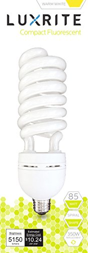 Luxrite LR20220 (12-Pack) 85-Watt High Wattage CFL Spiral Light Bulb, Equivalent To 350W Incandescent, Warm White 2700K, 5150 Lumens, E26 Standard Base by LUXRITE (Image #6)