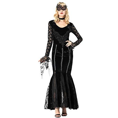 Goddessvan 2019 Fashion Women Halloween Cosplay Sexy Slim Black Blood Suck Lace Earl Dress Mermaid Skirt (Online Skirt Mermaid)