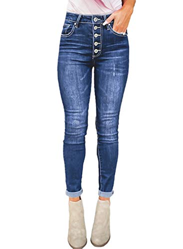 Sidefeel Women Hight Waist Buttoned Skinny Jeans Straight Leg Denim Pants Large Blue