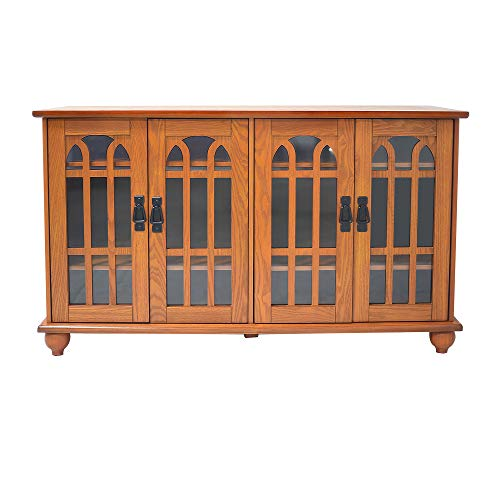"""NB Liner 46"""" Arched-Door TV Stand Storage Console Cabinet, Oak Finish"""