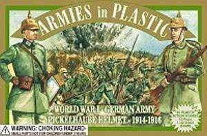 German Soldier Figure - Armies in Plastic WWI German with Pickelhaube Helmet Offered By Classic Toy Soldiers, Inc