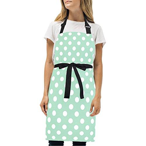 Naanle Retro Vintage Mint Green Polka Dot Pattern Kitchen Chef Cooking Salon Aprons for Women Men Vintage Pinafore Apron - Mint Dress Pattern