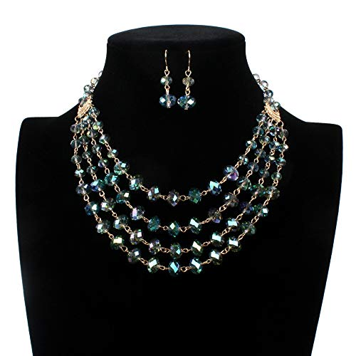 (JIANGXIUQIN Bridal Wedding Party Jewelry Set Women's Colored Glaze Statement Multi Layer Chain Crystal Strand Necklace and Earrings Suit Fashion Necklace Earrings)