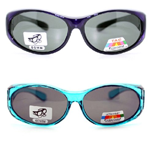 2 Pair of Women's Polarized Fit Over Oval Sunglasses - Wear Over Prescription Glasses (Blue and Purple) 2 Carrying Cases - Small Fit Over Sunglasses