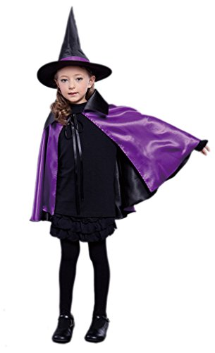 Kids Child Halloween Christmas Costume Reversible Silk Witch Cloak Cape with Hat