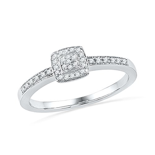 Sterling Silver Round Diamond Promise Ring (0.12 - Diamond Ring Square Engagement