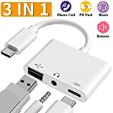 USB C Female OTG Audio Adapter - 3 in 1 Digital Camera USB Reader - 3.5mm Headphone Jack and Charging Port Splitter Adapter - Support Card Reader - Compatible with iPad Pro - Pixel 3 3 XL 2 2 XL - and More