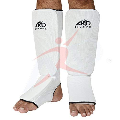 (ARD Shin Instep Protectors, Guards Pads Boxing, MMA, Muay Thai (White, Large))