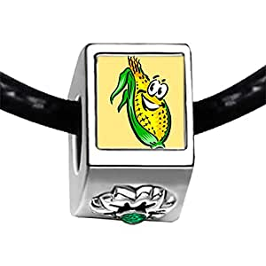 Chicforest Silver Plated Thanksgiving corn cartoon Photo Emerald Green Crystal May Birthstone Flower Charm Beads Fits Pandora Bracelet