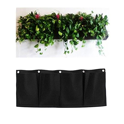 Amgate 4 Pockets Wall Hanging Planter Bags Wall-mounted Growing Bags for Indoor/outdoor