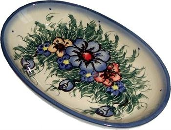 Polish Pottery 7 1/4 inch by 4 1/4 inch Oval Baker, Warm Cream with Blue, Orange, and Red Flowers and Leaves Motif - Wild Field