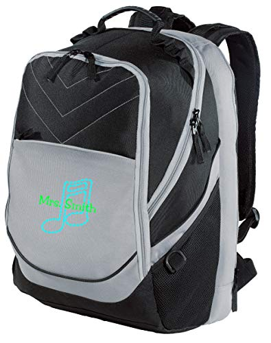 Music Note Personalized Xcape Computer School Bag Backpack (Black/Grey)