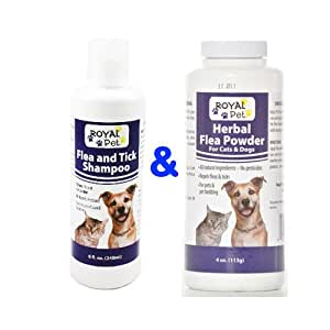 Royal Pet Flea and Tick Shampoo & Herbal Flea Powder for Cat & Dog