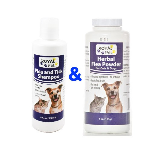 Royal Pet Flea and Tick Shampoo & Herbal Flea Powder for Cat & Dog