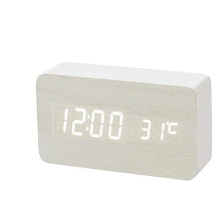 NAOZHONGa LED Reloj Despertador de Madera Reloj de Mesa Control de ...