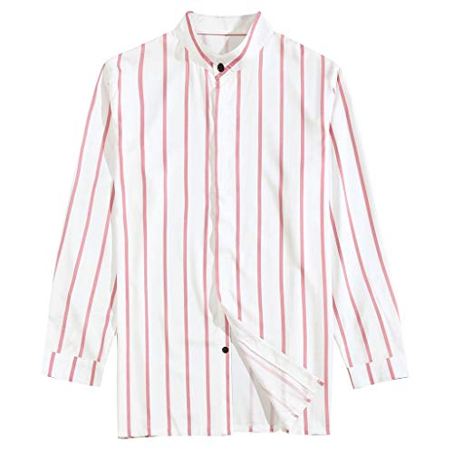 GDJGTA Shirts for Mens Summer Shirts Casual Classic Striped Stand Collar Long-Sleeve Top Blouse Pink ()