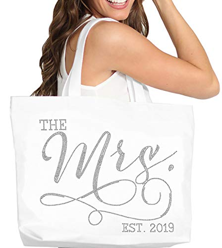 "Mrs 2019 Bride Tote Bag - Giant 18"" x 14"" Premium Quality Cotton Canvas Modern Wedding Totes - Bridal Shower Gift - White Tote(Mod 2019 RS) Wht"