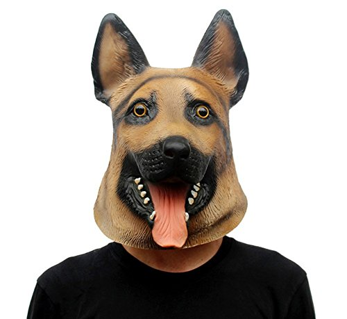 QTMY Latex Rubber Animal German Shepherd Dog Mask for Halloween Party Costume -