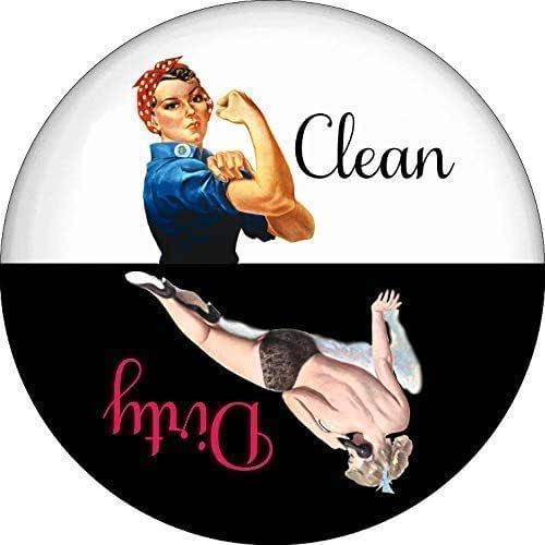 Rosie the Riveter Pin Up Girl Clean Dirty Dishwasher Magnet 2.25 Inch Round