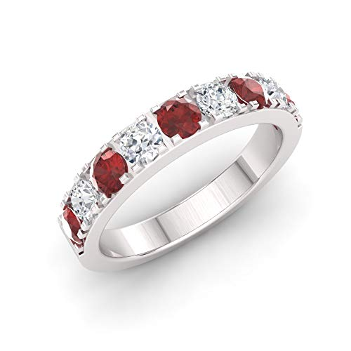 Diamondere Natural and Certified Garnet and Diamond Wedding Ring in 10K White Gold | 0.92 Carat Half Eternity Stackable Band for Women, US Size 9