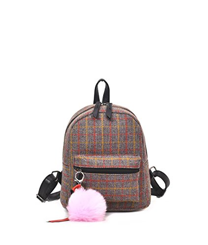 Women's Backpack Voguish Plaids Pattern Popular Travel Bag With Ball Pendant For provide By [Zhao Liang] (Backpack Tan Plaid)