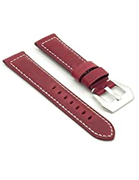 DASSARI Salvage Red Vintage Leather Watch Band for Panerai 22/20 22mm