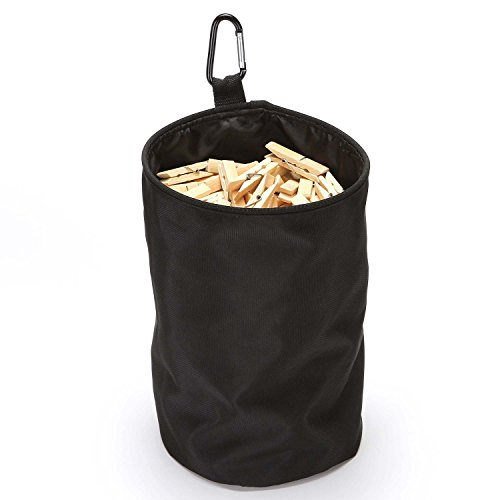 VEAMOR Clothespins Bag Hanging Clothesline Peg Organizer Storage Bags,Dust-Proof (Black) by VEAMOR