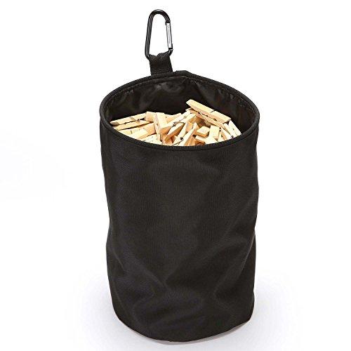 VEAMOR Clothespin Bag Hanging Clothesline Peg Organizer Storage Bags,Dust-Proof (Black) (Dust Holder Cloth)