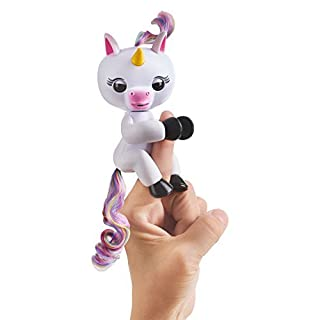 Fingerlings Baby Unicorn - Gigi (White with Rainbow Mane and Tail) - Interactive Baby Pet - by WowWee
