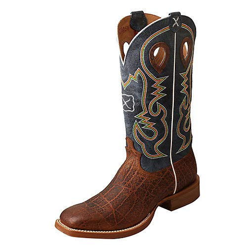 Ruff Stock - Twisted X Men's Ruff Stock Elephant Print Cowboy Boot Square Toe Cognac 9 EE