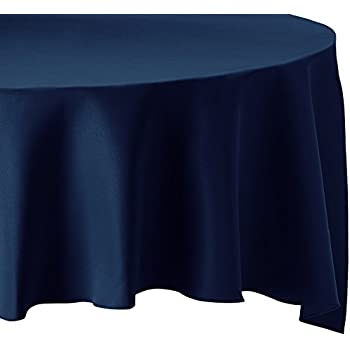 High Quality LinenTablecloth 120 Inch Round Polyester Tablecloth Navy Blue