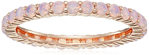 Amazon CollectionPlata de ley bañado en oro rosa Ronda Rosa Preciosa nanogems All-Around Anillo, tamaño 7