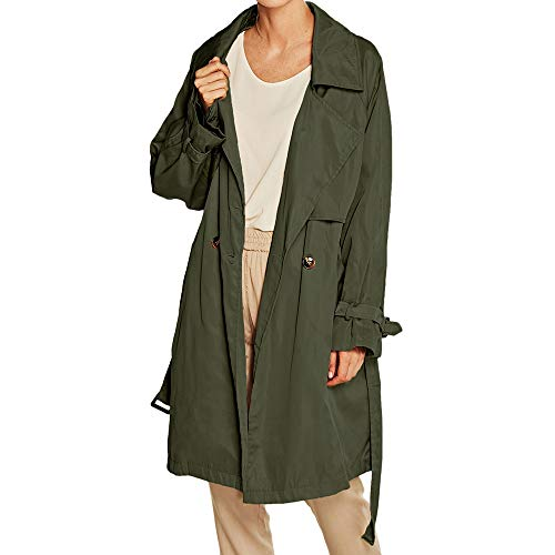 Larga Delgada Y Con Para Manga Botones Verde Chaquetas Cortavientos Abrigo De Logobeing Abrigos Mujer Solapa wACw0q