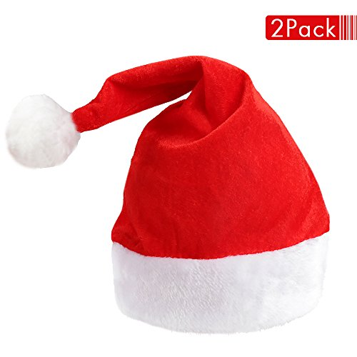 Vanzon 2 Pack Santa Hat, Traditional Winter Warm Plush Christmas Hat for Adults Red Christmas Costume,Christmas Party Supplies (Hat Topper Christmas Santa Tree)