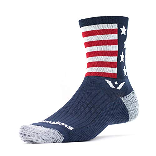 Swiftwick- VISION FIVE SPIRIT- USA| Socks Built for Cycling | Creative Designs, Fast Drying, Cushioned Crew Socks | Blue/White/Red, Large ()
