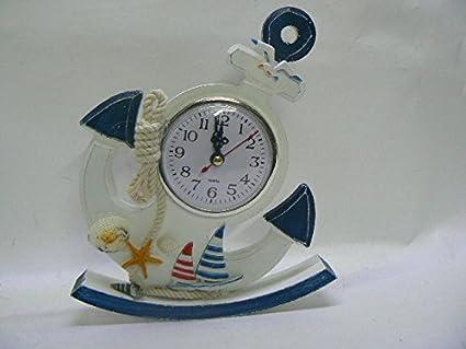 Reloj de pared y mesa, pared, forma ancla y timón, tema Marina Playa