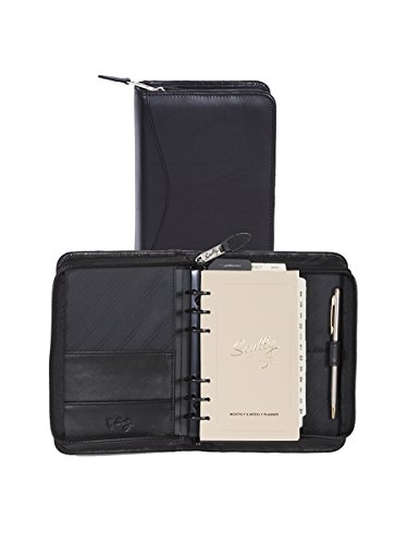 Scully Nappa Leather 6-Ring Zip Weekly Organizer - Black
