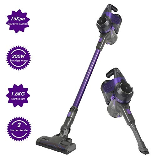 SU-VAC Cordless Vacuum Cleaner, 15Kpa Powerful Suction, Lightweight, Wall Mounted, Bagless, Handheld Vacuum with 2 Suction Modes for Hard Floor/Carpet/Pet Hair, 200W Digital Motor Lithium Battery
