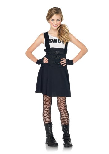 Leg Avenue Junior's 2 Piece SWAT Officer Costume, Black, Medium/Large