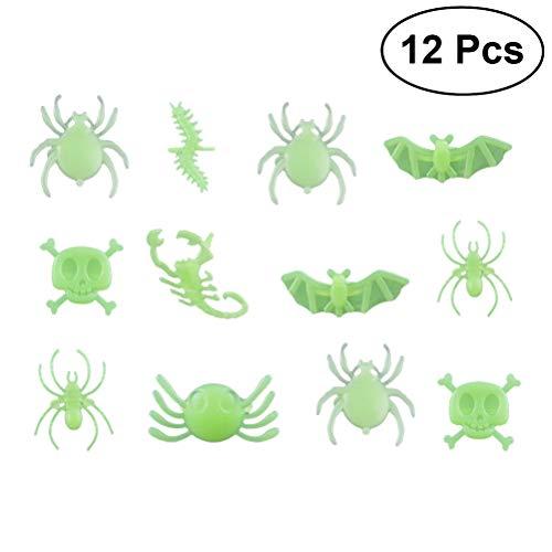 BESTOYARD 12Pcs Plastic Spider Skull Bat Lizard Scorpion Rings Halloween Party Favors for Trick or Treat Halloween Ghost Party -