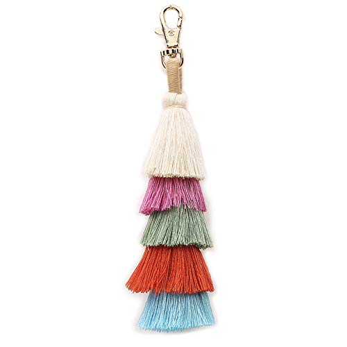 Multi Charm Keychain - imeetu Fashion Creative Bohemian Tassel Women Handbag Charm Beach Party Keychain Pom Pom Wallet Accessories Pendant Key Rings(B2)
