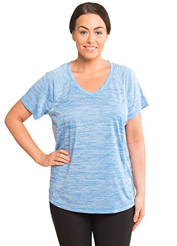 Heathered Raglan T-shirt (RBX Active Women's Plus Size Heathered Raglan V-Neck T-Shirt Cloud 9 Blue 2X)