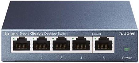 TPLink 5 Port Gigabit Ethernet Network Switch TLSG105  Ethernet Splitter  Plug  Play  Fanless