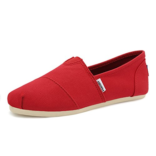 Fantiny Women's Classics Canvas Shoes Memory Foam Insole Flats Loafers Slip on Casual Shoes Red
