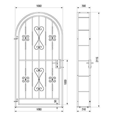 Gartentor Komplett-Set Rosenbogen inkl Gartentor Metalltor Ergo 1060 x 2150 x 300 mm