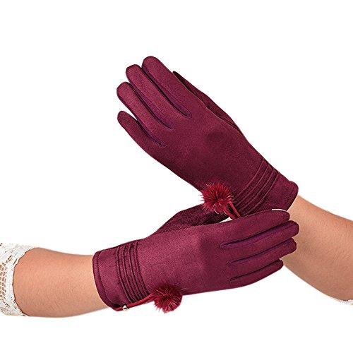 NRUTUP Women Velvet Warm Glove Soft Wrist Thick Mitten Full Finger Glove (Wine,Free Size)