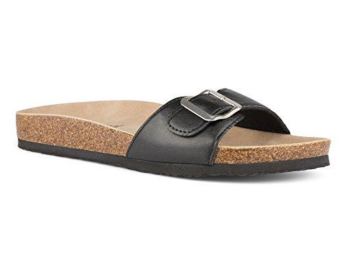 Twisted Women's Payton Buckle Strap Cork Slide Sandal - PAYTON55 Black, Size 9 (Platform Cork Slides)