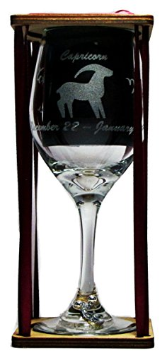 Capricorn Astrological Sign 360 Degree Engraved Wine Glass with Charm