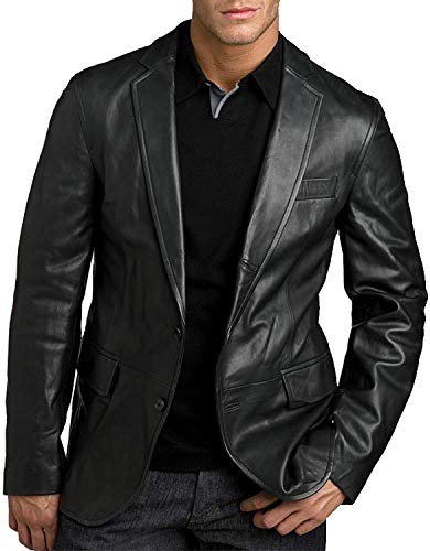 King Leathers Men's Genuine Lambskin Real Leather Blazer Two Button Black - Genuine Blazer Leather