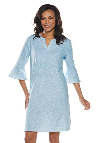 Coolibar UPF 50+ Women's Cannes Tunic Dress - Sun Protective (2X- Cabana Blue Painterly Geo)